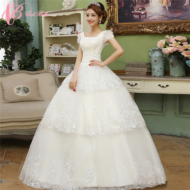 Elegant Custom Made Lace Appliques Cap Sleeve Ball Gown Wedding ...
