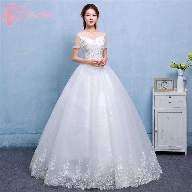 Hot Sale Sweetheart Tulle Short Sleeve Ball Gown Wedding Dress ...
