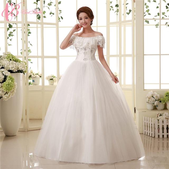 Elegant Off-shoulder Lace Appliques Cheap Ball Gown Plus Size ...