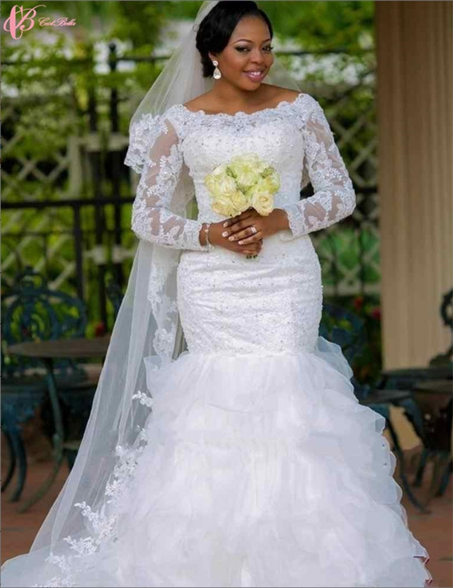 Cestbella African Style Mermaid Wedding Dress with Long Sleeves red ...