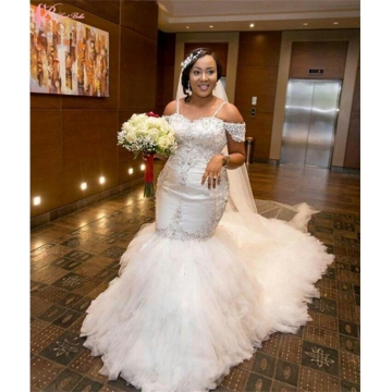 Cestbella Gorgeous African Off-shoulder Shining Wedding Dress Long Train Mermaid Pure White us size 4