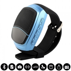 Outdoor Movement Wireless Bluetooth Speaker Watch Card With liquid crystal Display screen blue one size