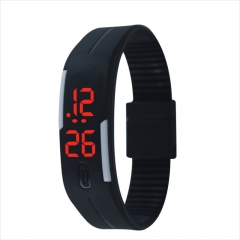Fashion Silica gel led Wristband Watch Fashion Trend Child Student Touch Digital Watch Red Light black