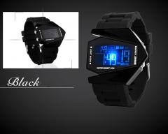 Fashion Personality Colorful Student Waterproof Multifunction digital watch Couple aircraft Watch black