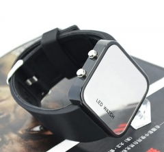 Fashion led mirror Cool Table Trend Student Digital Watch Creative Couple Make up Watch black