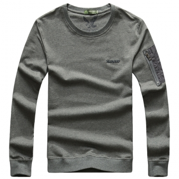 JEEP zipper round collar T-shirt youth long sleeve imprint fly eagle jacket pure color fashion style gray l