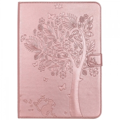 iPad Air 2 / iPad 6 Case,Embossed [Tree Cat] Folio Flip Wallet Cover (Rose Gold) For iPad Air 2 / iPad 6