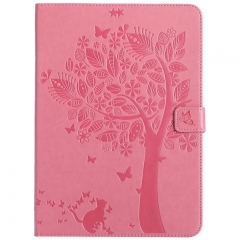 iPad 9.7-inch (2017) Case,Embossed [Tree Cat] Folio Flip Wallet Cover (Pink) For iPad 9.7-inch (2017)